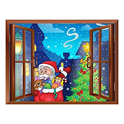 Marvelous Portrait, Made With Top Quality, Cartoon Santa Claus Carrying Gifts Peel and Stick Removable Window View Wall Sticker Wall Mural