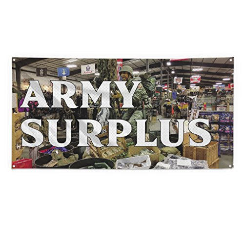 Army Surplus Outdoor Fence Sign Vinyl Windproof Mesh Banner With Grommets - 4ftx8ft, 8 Grommets (Mesh Surplus)