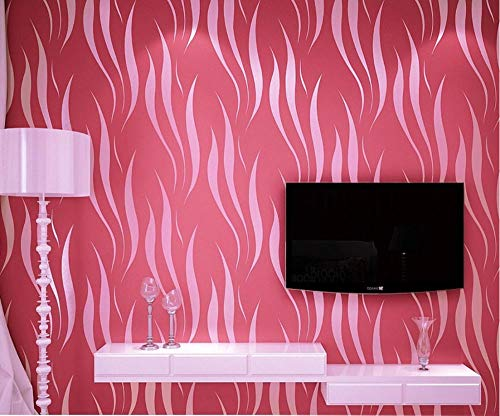 Non-Woven Wallpaper Simple and Modern 3D Curve Stripe Leaf Plants,0.53M X 10M Cinnabar_Red Wallpaper for Home Decoration Living Room Kitchen
