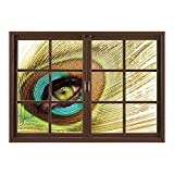 SCOCICI Window Frame Style Home Decor Art Removable Wall Sticker/Peacock Decor,Woman Looking Through Peacock Feather Eye Creative Decorating Illustration Decorative,/Wall Sticker Mural