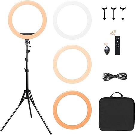 Comprar Spardar 18'' Anillo de luz LED Regulable, Kit tricolores 3200K-5500K para trípode, para Selfie, transmisión en Vivo, grabación de Video de Youtube