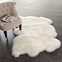 3 x 5 Handmade Natural Pelt Sheepskin Shag Patterned Area Rug, Featuring Elegant Furry Sheepskins Material, Indoor Hallway Bedroom Living Room Entryway Carpet, Luxurious Bright Modern Style, White