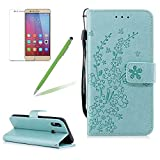 For Huawei P20 Lite Wallet Case,Girlyard Premium Solid Green Color PU Leather Flip Case Plum Blossom With 3D Elegant Pattern Magnetic Closure Protective Case Folio Book Stylefor Huawei P20 Lite