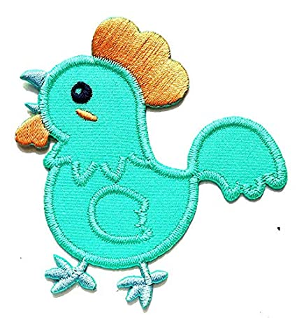 Nipitshop Patches Baby Chicken Chick Teal Blue Cartoon Kids Patch Embroidered Iron On Patch for Clothes Backpacks T-Shirt Jeans Skirt Vests Scarf Hat Bag
