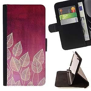 For Samsung Galaxy Note 5 5th N9200 Case , Ciruelo Rojo Carmesí Hojas Patrón Beige- la tarjeta de Crédito Slots PU Funda de cuero Monedero caso cubierta de piel