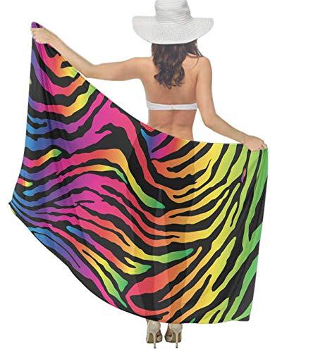 Women Girl Fashion Travel Shawl Wrap Summer Vacation Beach Towels Chiffon Scarf Bikini Beachwear Sarong Wrap Swimwear Cover Up (Rainbow Zebra Print Printing)