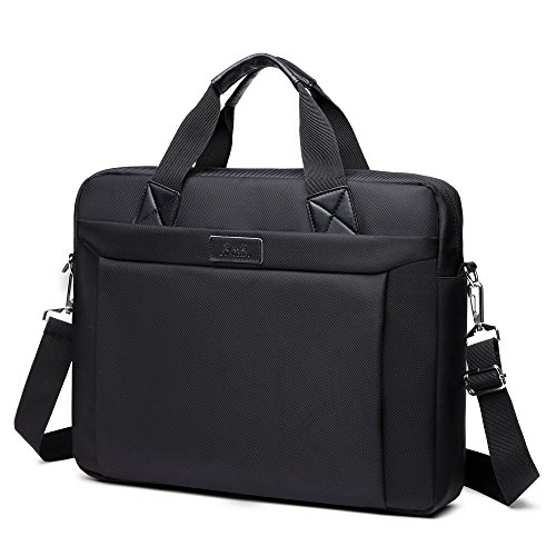 Briefcases For Men, 15.6 Inch Laptop Bag, Thin Lightweight Business Office Briefcase Bag for Men Protective Durable Anti Scratch Water Resistant, Black by Obacle