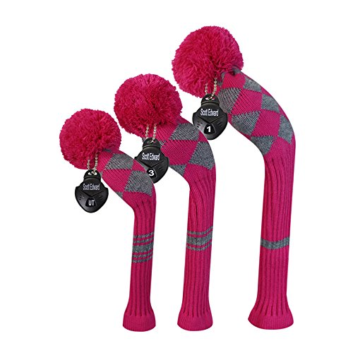 Argyle Roses (Scott Edward Rose Grey Color Argyles Style Golf Pom Pom Headcover Set of 3 for Driver, Fairway, and Hybrid, with Rotating Number Tags)