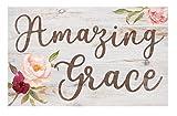 P. GRAHAM DUNN Amazing Grace Floral Whitewash 17 x 10.5 Wood Pallet Wall Plaque Sign