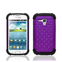 theMobileArea Rhinestone Bling Diamond Cute Impact Dual Layer Shock Proof Case For Samsung Galaxy Ace 2 II-X GT-S7560M - Purple