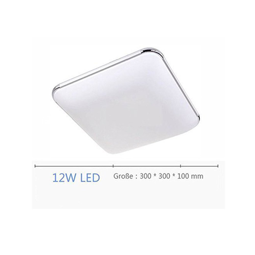 SAILUN 12W Ultra Thin LED Sensor Blanco Frío Lámpara de techo moderna para sala de estar, cocina, dormitorio, baño, hotel - Plata: Amazon.es: Iluminación