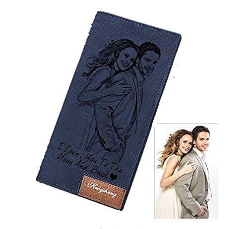 Da Per Credito Porta Personalizzati Blu Portafogli Bifold Carte Di Donna Regalo 1ZWnRRP6d