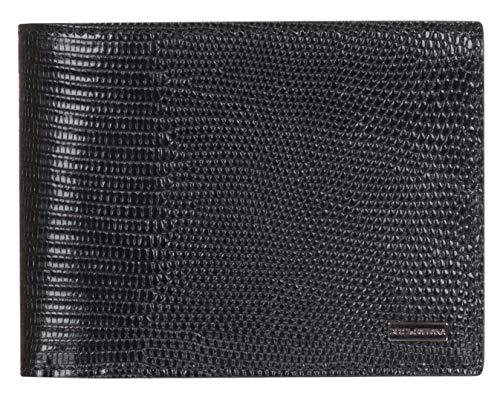 Dolce & Gabbana Black Leather Iguana Print Logo Plaque Bi Fold Wallet
