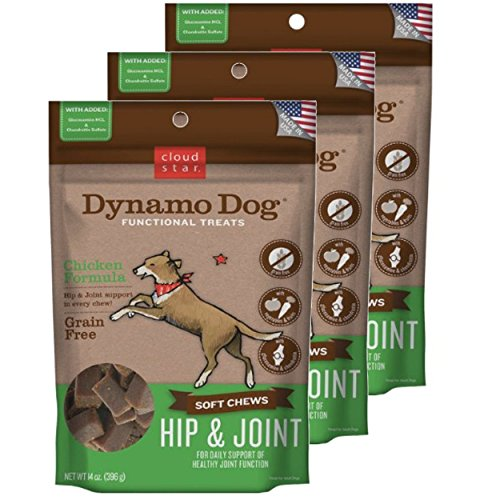 Cloud Star Dynamo Dog Hip & Joint Soft Chew Treats Chicken Formula - Grain Free - (3 Pack) 14 oz Each