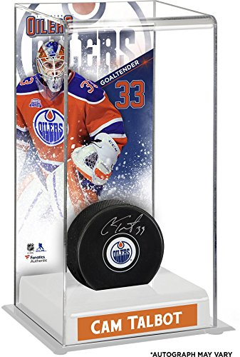 cam-talbot-edmonton-oilers-autographed-puck-with-deluxe-tall-hockey-puck-case-fanatics-authentic-cer