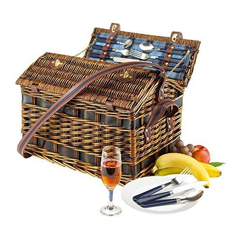 Picknickkoffer-Picknickkorb-aus-Weide-Vollausstattung-mit-Inhalt-fr-4-Personen