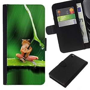 Planetar® Modelo colorido cuero carpeta tirón caso cubierta piel Holster Funda protección Para HTC DESIRE 816 ( Umbrella Frog Thinking Sad Cute )