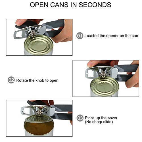 Can Opener, Best Manual Can Opener Smooth Edge Good Grips with Built-in Bottle Opener - Hand Held Stainless Steel Can Opener by Catnee (Image #2)
