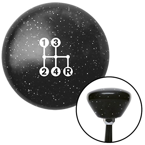 American Shifter 287650 Shift Knob (White 4 Speed Shift Pattern - Dots 6n Black Retro Metal ()