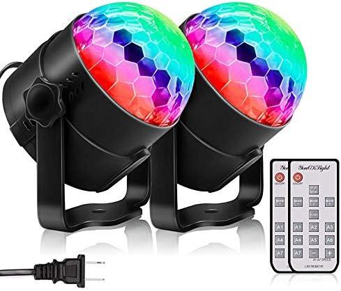 [スポンサー プロダクト]YouOKLight ステージライト・ディスコボールライト・演出・結婚式・/パーティー・KTV・カラオケ・バー照明 舞台ライト LED 3W RGB多色変化 音声起動 リモコン付き 2個入
