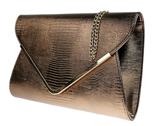 Girly Animal Clutch Flat Envelope Bronze Croc Evening Print Ladies Bag Handbags 5rn6qRwxU5