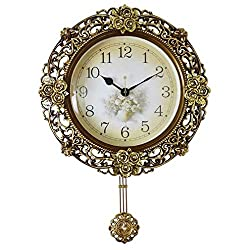 MGE UPS Systems Clock Wall Clock,Pendulum Clock Large Ornate European Wall Clock, Silent Quartz Clock Home Garden for Dining Room, Living Room, Living Room, (Color : Style 1)