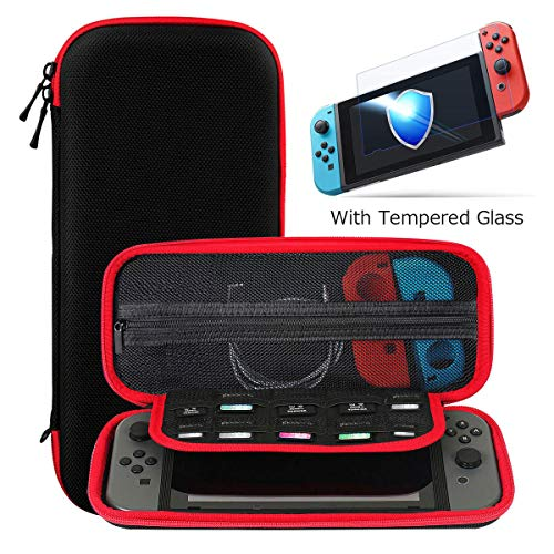 (Ztotop Case and Tempered Glass Screen Protector for Nintendo Switch, Portable Travel Carrying Case Slim Protective Hard Shell Pouch for Switch Console & Accessories (10 Game Holder), Streak Red)