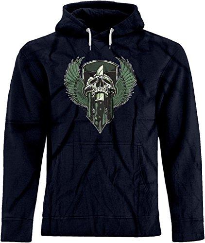 BSW Unisex Skull Knife Wings Crest Premium Hoodie XL Navy