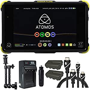 "Atomos Shogun Flame 7"" 4K Recorder Monitor, Battery, Charger, Caltar 7"" Articulating Magic Arm, HDMI A-D Basic 3' Cable and HDMI A-C Basic 3' Cable"