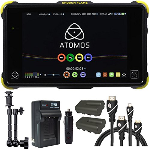 Atomos Shogun Flame 7'' 4K Recorder Monitor, Battery, Charger, 7'' Articulating Magic Arm, HDMI A-D Basic 3' Cable and HDMI A-C Basic 3' Cable by Calumet