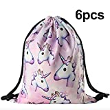 6 PCS Unicorn Pattern Drawstring Gym Bag Cute Backpack Gift for Baby Shower Favor Girls School Travel Shoulder 3D Design