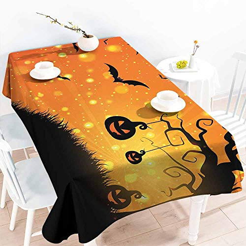 HCCJLCKS Stain-Resistant Tablecloth Halloween Magical Fantastic Evil Night Icons Swirled Branches Haunted Forest Hill Picnic W70 xL102 Orange Yellow Black -