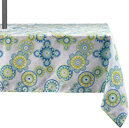 Lahome Medallion Outdoor Tablecloth with Umbrella Hole – Water Resistant Spillproof Table Cover for Patio Table Light Green, Zippered – 60 x 84 Rectangle