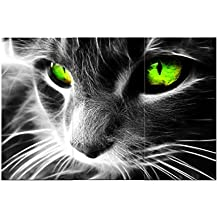 Amoy Art -3 panels Green Eye Black Cat Stretched and Framed Giclee Canvas Prints Animal Pictures Paintings on Canvas Wall Art for Living Room Bedroom Home Decorations (8x16inch x3pcs)