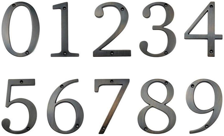Color : Aged Bronze, Size : Number 0 WenJ Bricolaje n/úmeros de buz/ón de 4 pulgadas grande moderno de la casa de la puerta n/úmero Domicilio for puerta exterior Casa Digital 10cm signo.