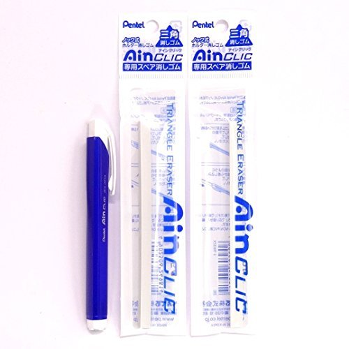 Pentel AinCLIC Stick Type Knock Eraser, Metal Blue (XZE15-MC) + Eraser Refills×2 Packs/total 2 Refills(Japan Import) [Komainu-Dou Original Package]