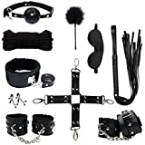Restraints for Sex, PALOQUETH 10 Pcs BDSM Toys Leather Bondage Sets Restraint Kits Sex Things for Couples.
