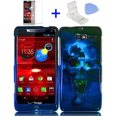 4 items Combo: Mini Video Phone Stand + Clear LCD Screen Protector Film + Case Opener +Blue Black Skull Design Snap on Hard Shell Cover Protector Faceplate Skin Case for Verizon (Motorola Razr M) XT907