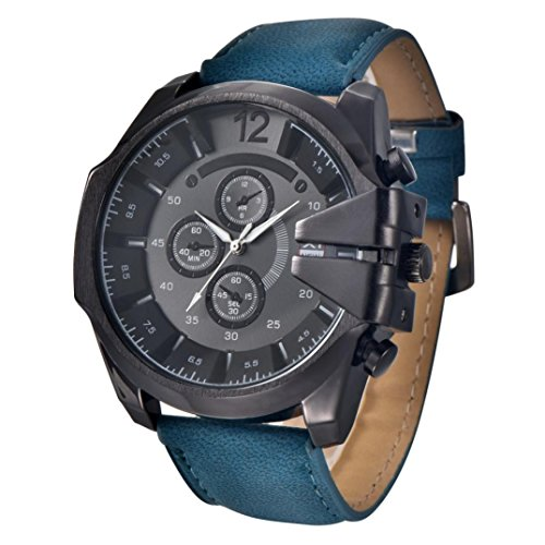 Ecosin® Cool Men's Watch Analog Sport Steel Case Quartz Dial Leather Wrist Watch Gift water resistance stainless steel and alloy 27cm (Blue) ()