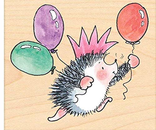 Hedgehog and Balloons - Rubber Stamp On Wood (1ks), Penny Black, Inc, Rubber, Stamps, Scrapbooking Paper