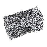 HULKAY Women Headband Boho Style Bow Hair Band(Gray)