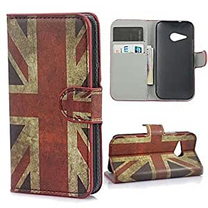 Vintage Union Jack Flag Leather Wallet Firm Case with Stand and Card Slot for One M8 Mini