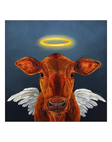 Holy Cow Heffernan Farm Religion Angel Animals Funny Print Poster 10x10 (Image)11x14 (Overall paper)