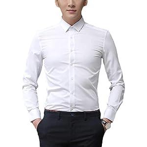 408ca7fc579f33 Plaid&Plain Men's Slim Fit Dress Shirts Spread Collar Poplin Shirt Wrinkle  Free Shirts
