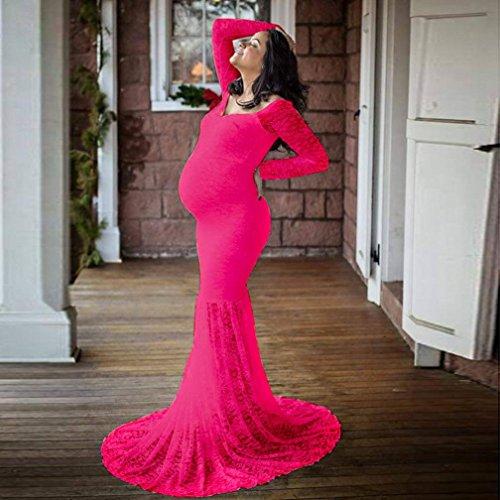 Vestidos Puro alargado Maternidad de Rosa de Faldas Cuello Elegante Vestido de Color larga largos Adeshop embarazadas Falda las cola Elegante Slash mujeres Embarazo Elasticidad Vivo encaje qTHnC6x