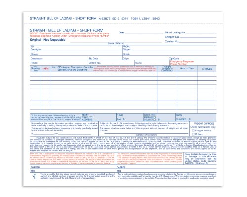 Adams Bill of Lading Form, Simplified Format, 3 Part, Carbonless, 8.5 x 7.63 Inches, 250 Sets per Box, White - Short Lading Form