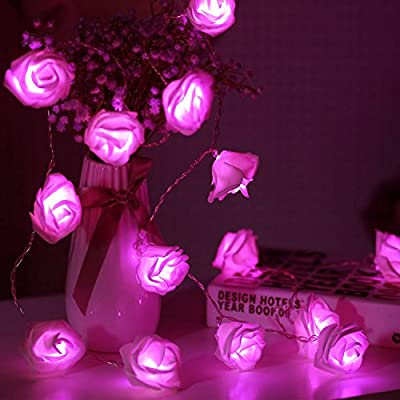 JMEXSUSS Timer 8 Modes 20 LED Battery Operated Pink Rose Flower 11.5 Feet Fairy String Light for Valentine decoration Wedding Bedroom Garden Christmas Decor