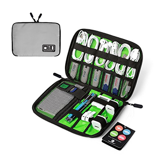 BAGSMART Travel Cable Organizer Portable Electronics Accessories Cases for Hard Drives, Charging Cords, USB Charger, Light Grey