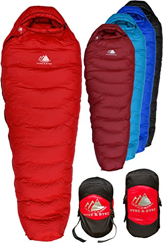 Hyke & Byke Snowmass 0 Degree F 650 Fill Power Hydrophobic Down Sleeping Bag with Allied LofTech Base - Ultra Lightweight 4 Season Men's and Women's Mummy Bag Designed for Cold Weather Backpacking