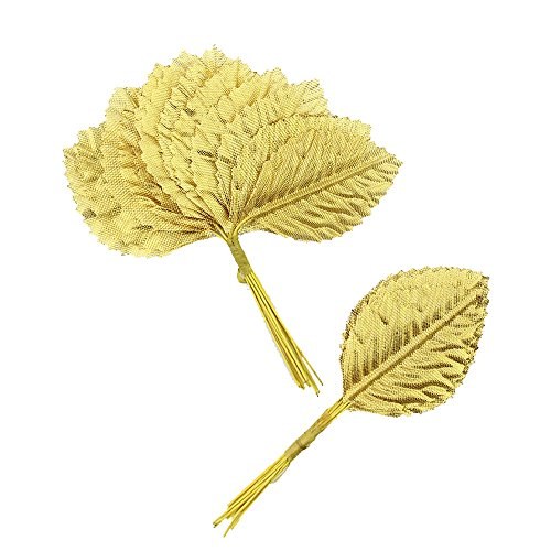 Silk Leaf Green Artificial Leaves Flower DIY Home Decorative Christmas Party Decoration Bouquet Wreaths Wedding Decor 120pcs (Gold)